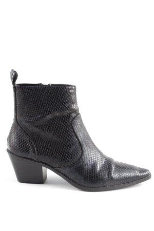 Zara Trafaluc Reißverschluss-Stiefeletten schwarz Animalmuster Elegant