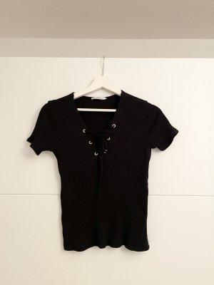 Zara Trafaluc Ribbed Shirt black