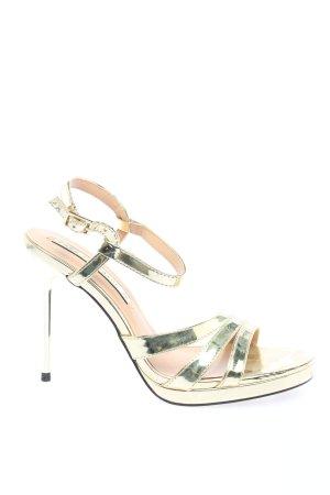 Zara Trafaluc Riemchen-Sandaletten goldfarben Elegant