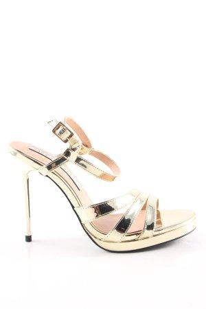 Zara Trafaluc Riemchenpumps goldfarben Elegant