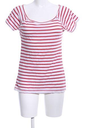 Zara Trafaluc Gestreept shirt wit-rood volledige print casual uitstraling