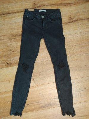 ZARA Trafaluc Ripped super skinny Stretch Jeans schwarz, 36