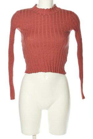 Zara Trafaluc Prążkowana koszulka różowy W stylu casual