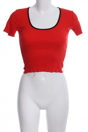 Zara Trafaluc Camisa acanalada rojo look casual