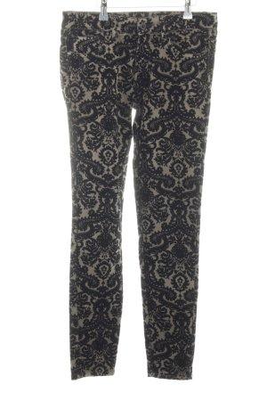 Zara Trafaluc Röhrenhose wollweiß-schwarz grafisches Muster extravaganter Stil