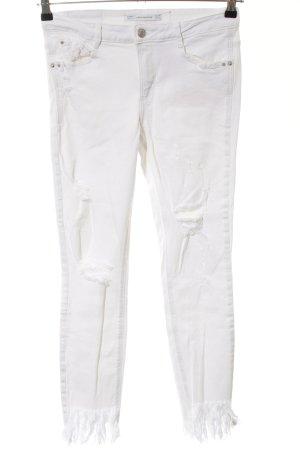 Zara Trafaluc Pantalon cigarette blanc style décontracté