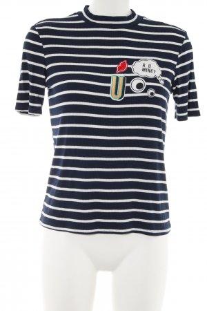 Zara Trafaluc Camisa de cuello de tortuga negro-blanco estampado temático