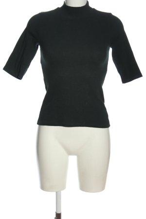 Zara Trafaluc Rollkragenshirt schwarz Streifenmuster Casual-Look