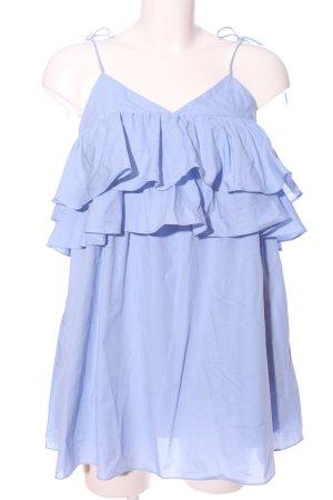 Zara Trafaluc Camicetta con arricciature blu stile casual