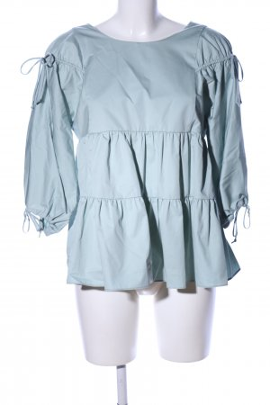 Zara Trafaluc Ruffled Blouse blue casual look
