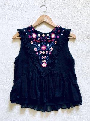 Zara Trafaluc Rüschen Schößchen Peplum Bluse Top bestickt schwarz bunt Gr. S
