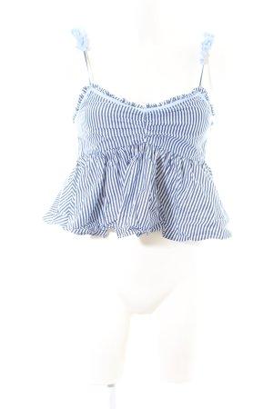 Zara Trafaluc Rüschentop blau-weiß Streifenmuster Casual-Look