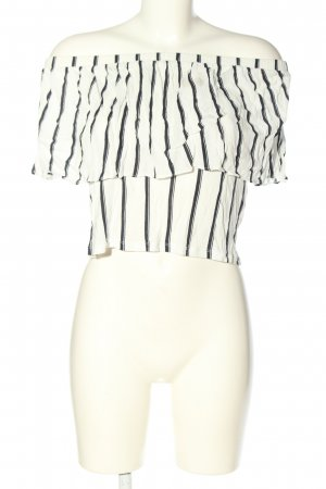 Zara Trafaluc Frill Top white-black striped pattern elegant