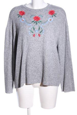 Zara Trafaluc Kraagloze sweater lichtgrijs bloemenprint casual uitstraling