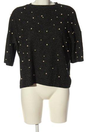 Zara Trafaluc Sweter z okrągłym dekoltem czarny-jasnoszary Melanżowy