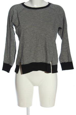 Zara Trafaluc Rundhalspullover weiß-schwarz Streifenmuster Casual-Look