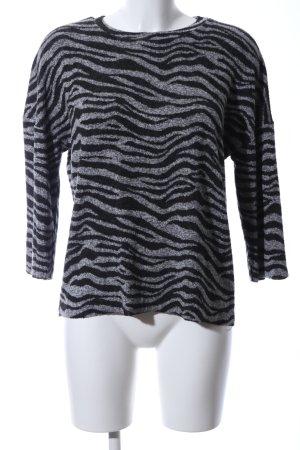 Zara Trafaluc Crewneck Sweater black-light grey animal pattern casual look