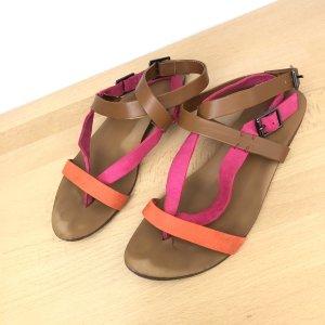 Zara Trafaluc Sandalen Gr 37 braun Pink orange riemchen Sandaletten Schuhe