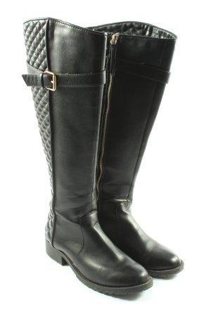 Zara Trafaluc Bottes à l'écuyère noir motif de courtepointe