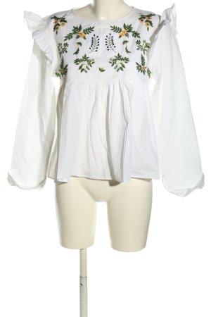 Zara Trafaluc Camicetta da notte bianco motivo floreale stile casual