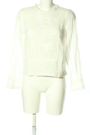 Zara Trafaluc Schlupf-Bluse wollweiß-weiß abstraktes Muster Casual-Look