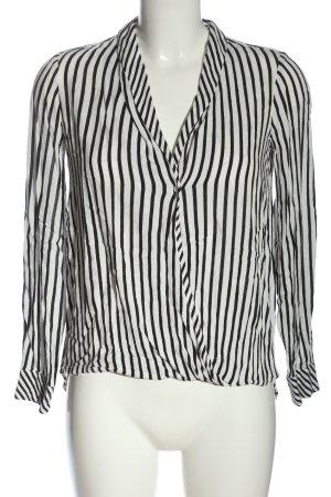 Zara Trafaluc Schlupf-Bluse schwarz-weiß Streifenmuster Casual-Look