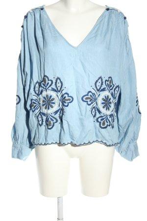 Zara Trafaluc Schlupf-Bluse blau Blumenmuster Casual-Look