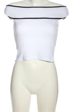 Zara Trafaluc Schlupf-Bluse weiß-schwarz Casual-Look