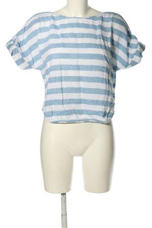 Zara Trafaluc Schlupf-Bluse weiß-blau Streifenmuster Casual-Look