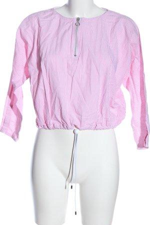 Zara Trafaluc Schlupf-Bluse weiß-pink Streifenmuster Casual-Look