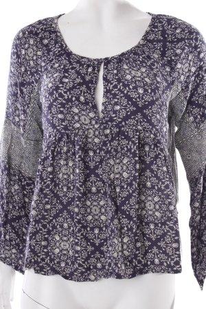 Zara Trafaluc Schlupf-Bluse dunkelblau-creme florales Muster