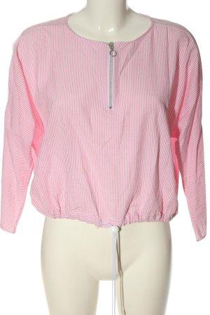 Zara Trafaluc Schlupf-Bluse pink-weiß Allover-Druck Casual-Look