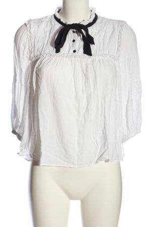Zara Trafaluc Tie-neck Blouse white-black business style