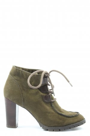 Zara Trafaluc Lace-up Booties khaki casual look