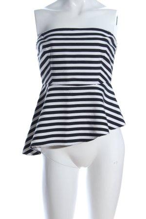 Zara Trafaluc Schößchentop weiß-schwarz Streifenmuster Elegant