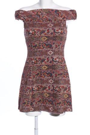 Zara Trafaluc schulterfreies Kleid rot abstraktes Muster Casual-Look
