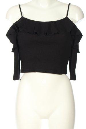 Zara Trafaluc Cropped Top schwarz Streifenmuster Casual-Look