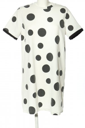Zara Trafaluc Shirtkleid weiß-schwarz Allover-Druck Casual-Look