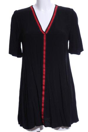 Zara Trafaluc Vestido estilo camisa negro-rojo estampado a rayas look casual