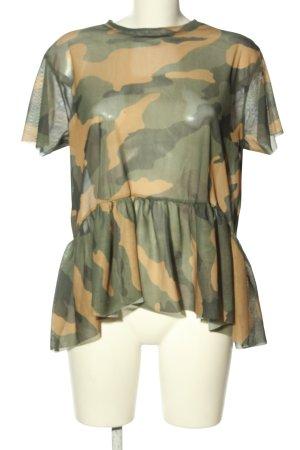Zara Trafaluc Shirt Tunic khaki-cream camouflage pattern casual look