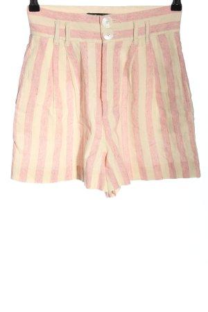 Zara Trafaluc Shorts creme-pink Streifenmuster Casual-Look