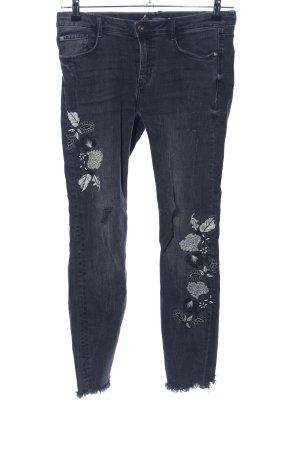 Zara Trafaluc Skinny Jeans schwarz weiß abstraktes Muster Casual Look