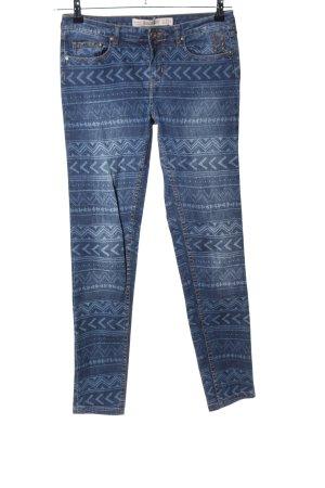 Zara Trafaluc Skinny Jeans blau grafisches Muster Casual-Look