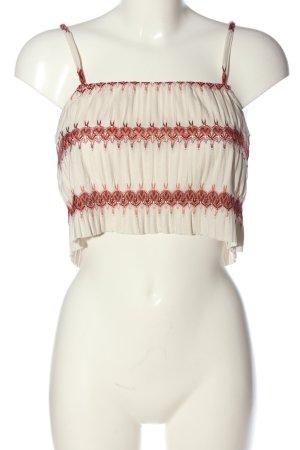 Zara Trafaluc Spaghettiträger Top weiß-rot Allover-Druck Casual-Look