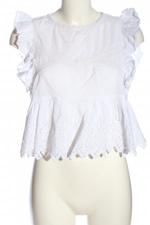 Zara Trafaluc Koronkowa bluzka biały W stylu casual