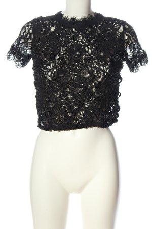 Zara Trafaluc Blusa de encaje negro elegante