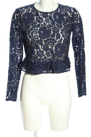 Zara Trafaluc Spitzenbluse blau Business-Look