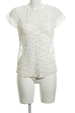 Zara Trafaluc Spitzenbluse weiß Blumenmuster Elegant