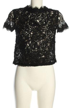 Zara Trafaluc Koronkowa bluzka czarny Siateczkowy wzór W stylu casual