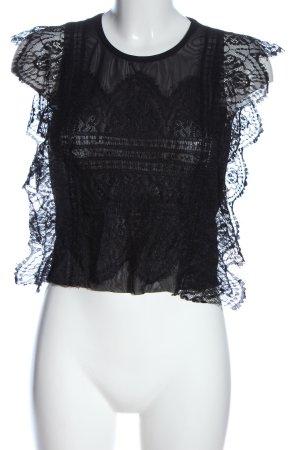 Zara Trafaluc Spitzenbluse schwarz Casual-Look